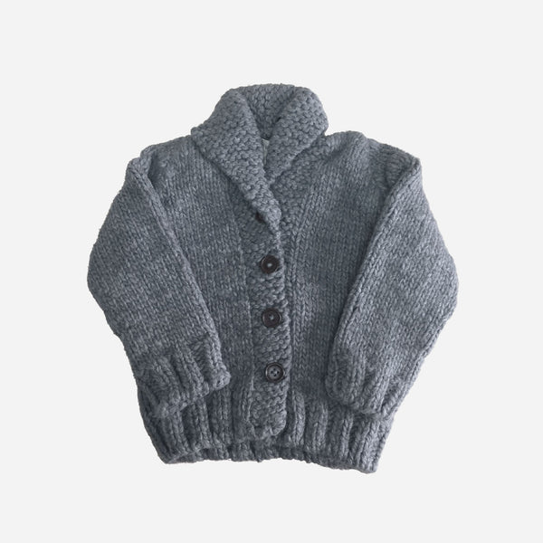 Button Up Knit Sweater, Zinc