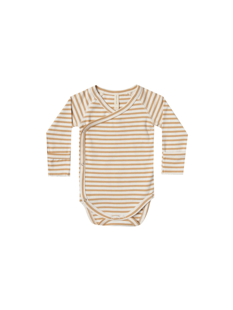 Kimono Onesie Organic Brushed Jersey - Honey Stripe