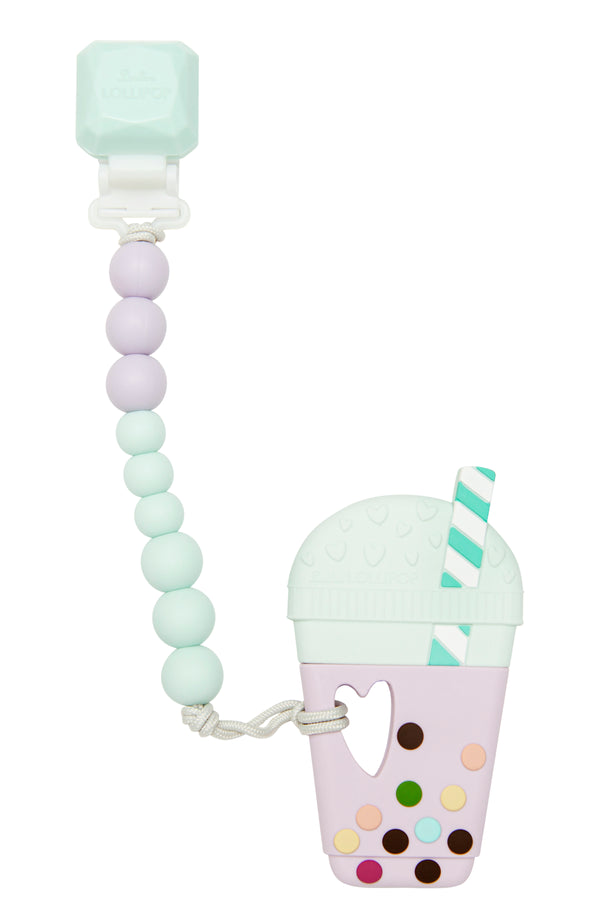 Bubble Tea Silicone Teether and Clip Set