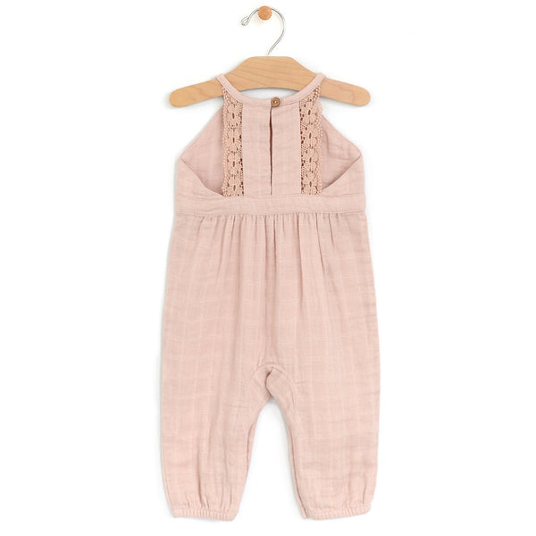 Muslin Lace Romper, Soft Peach