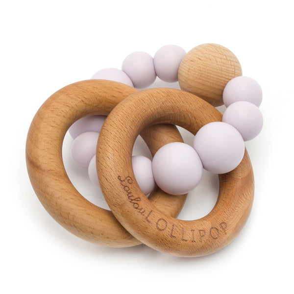 Bubble Silicone and Wood Teether, Lilac