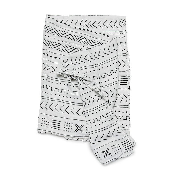 Mudcloth Muslin Swaddle - White