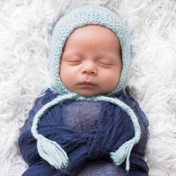 Newborn Angora Knit Bonnet, Blue