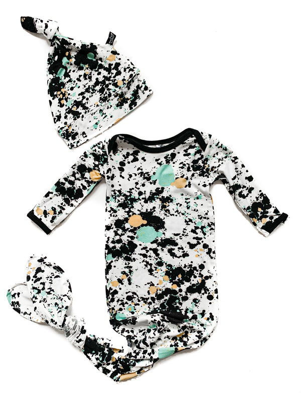Paint Splatter Newborn Gown and Hat Set