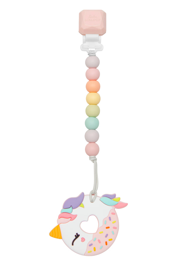 Pink Unicorn Silicone Teether and Clip Set