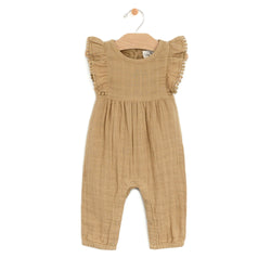 Muslin Long Tie Romper, Curry