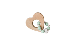 Wood Heart and Silicone Bead Teether - Mint