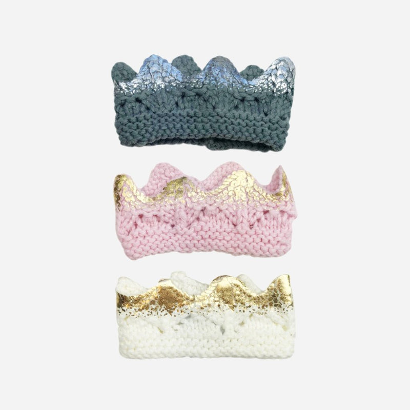 Hand-Knit Sparkle Crown, Pink with Gold