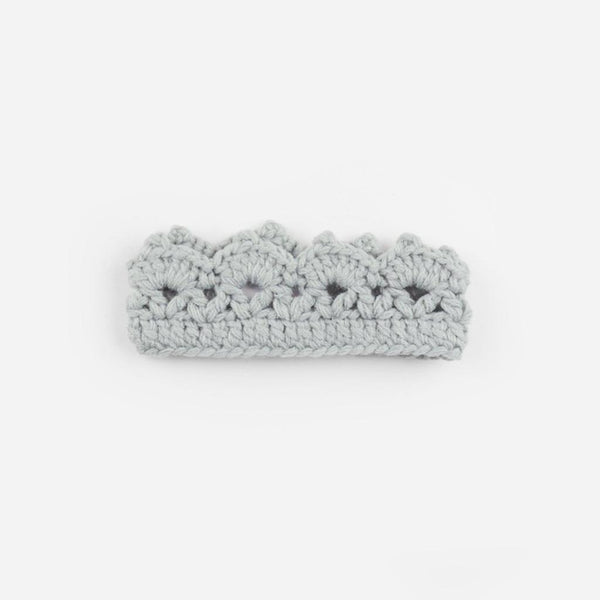 Newborn Hand-Crochet Crown, Gray