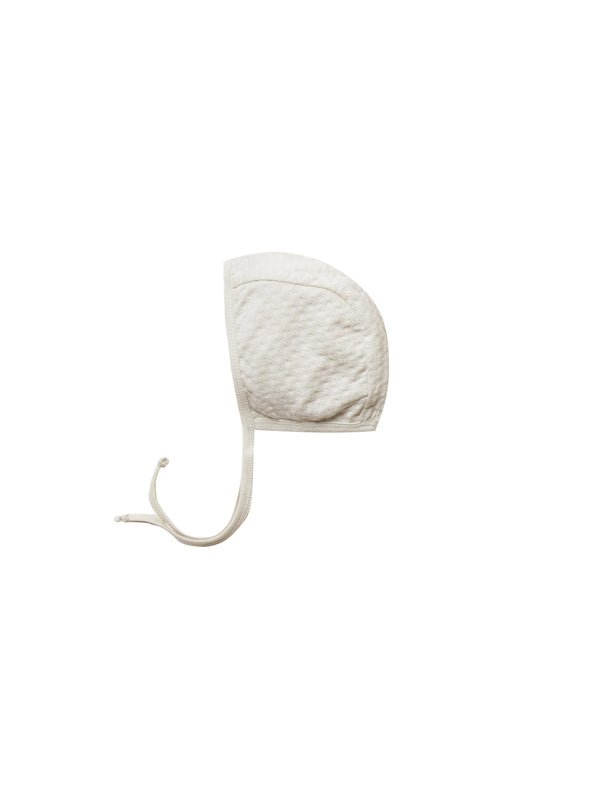 Pointelle Baby Bonnet - Pebble