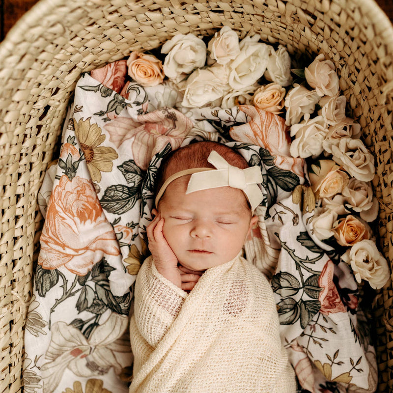 Garden Floral Swaddle, White