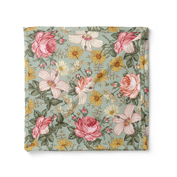 Garden Floral Swaddle, Sea Foam