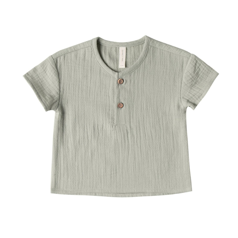 Organic Cotton Woven Henry Top in Sage