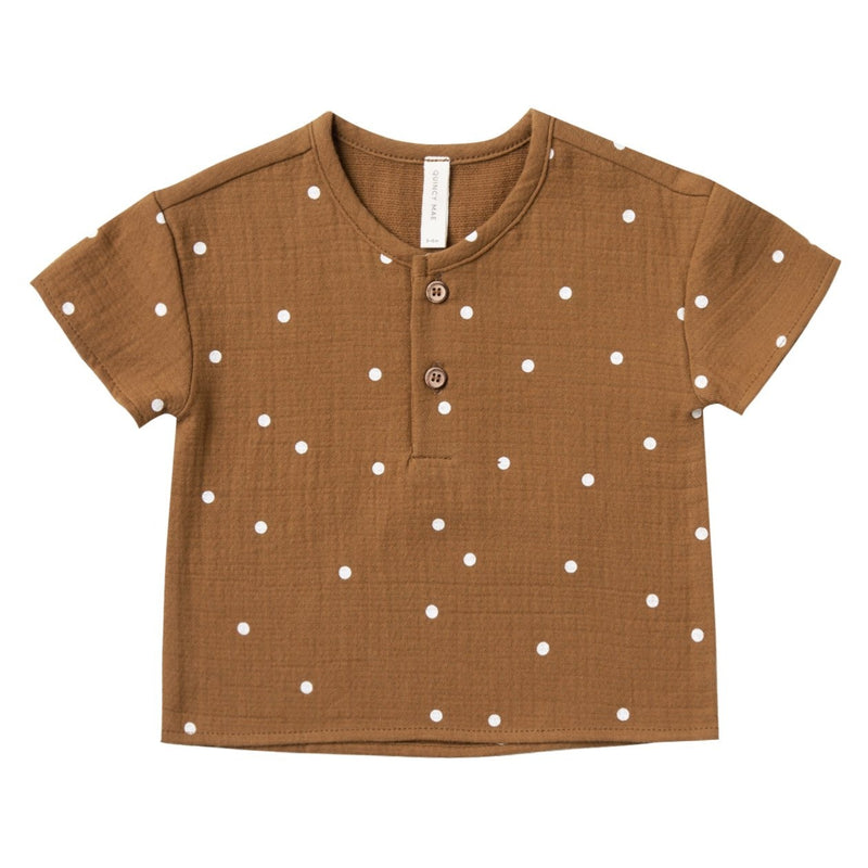 Organic Cotton Woven Henry Top in Walnut