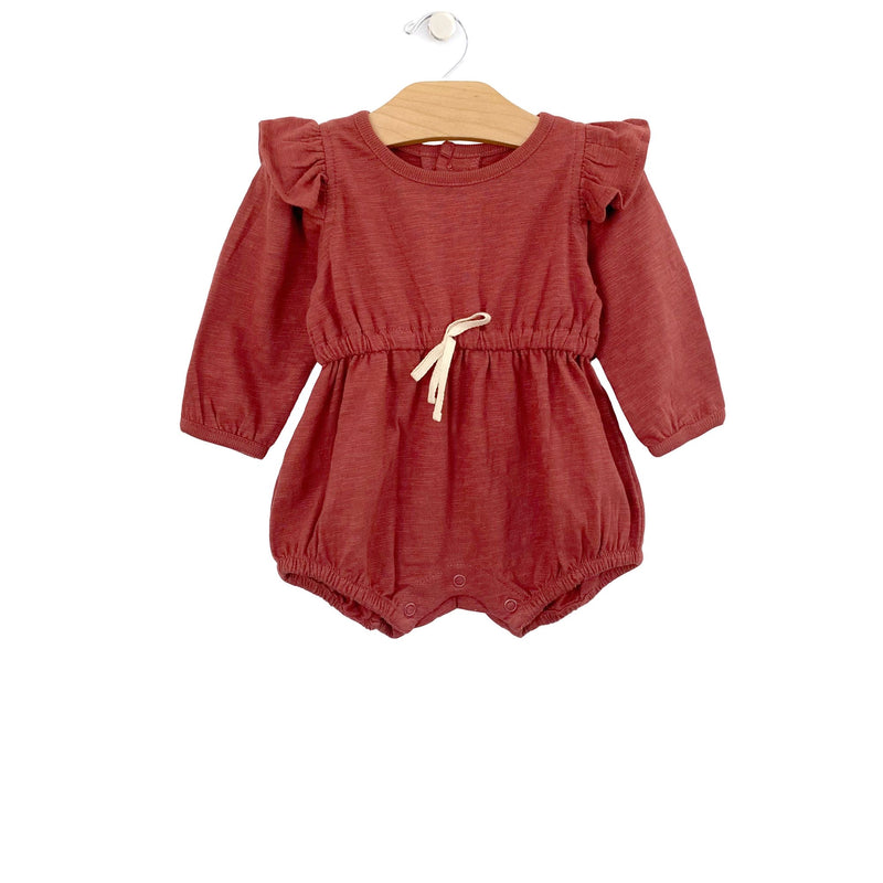 Long Sleeve Shorty Romper, Paprika