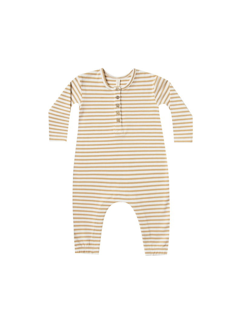 Long Sleeve Jumpsuit Ribbed Jersey - Honey Stripe