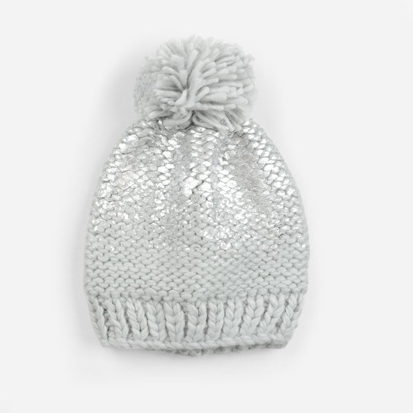 Pearl Metallic Knit Hat With Pom, Gray w/Silver