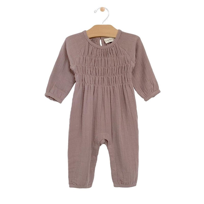 Muslin Smocked Romper, Dusty Rose