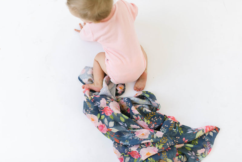 Midnight Bloom Muslin Swaddle