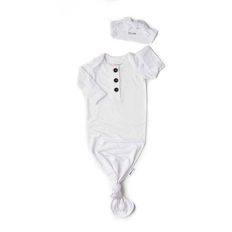 White Button Newborn Gown and Headband