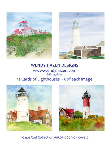 Lighthouses ~  Cape Cod  (Hand Cut Cards)