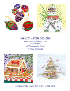 2020 Holiday Card ~ Snowman, Ornaments, Driftwood Tree, Lobster Gingerbread House