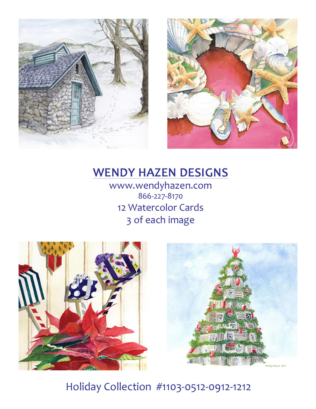 2020 Holiday Card ~ Sugar Shack, Shell Wreath, Lobstertrap Tree, Present Motif