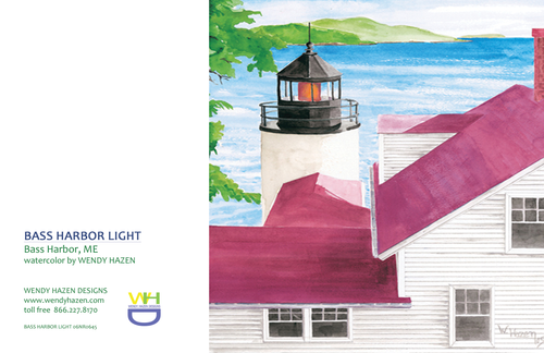 Lighthouse ~ Bass Harbor  (Hand Cut Cards)