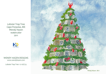 Load image into Gallery viewer, 2020 Holiday Card ~ Sugar Shack, Shell Wreath, Lobstertrap Tree, Present Motif