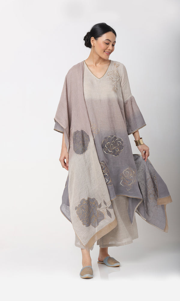 DAMASK ROSE JAMAL FLY FREE TUNIC SET PEARL-Tunic Set-KAVERi