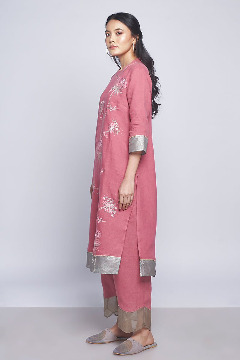 Plant Panorama Tunic Set Punch Pink-Kurta Set-KAVERi
