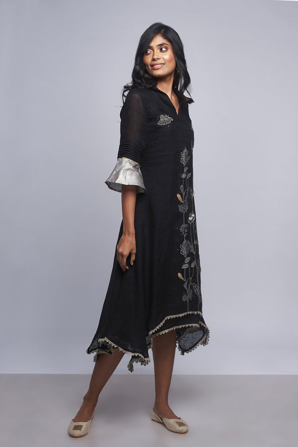 Plant Panaroma Twirl Dress Black-Dresses-Kaveri