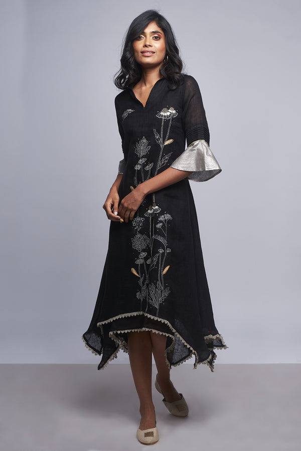 Plant Panorama Twirl Dress Black-Dresses-KAVERi