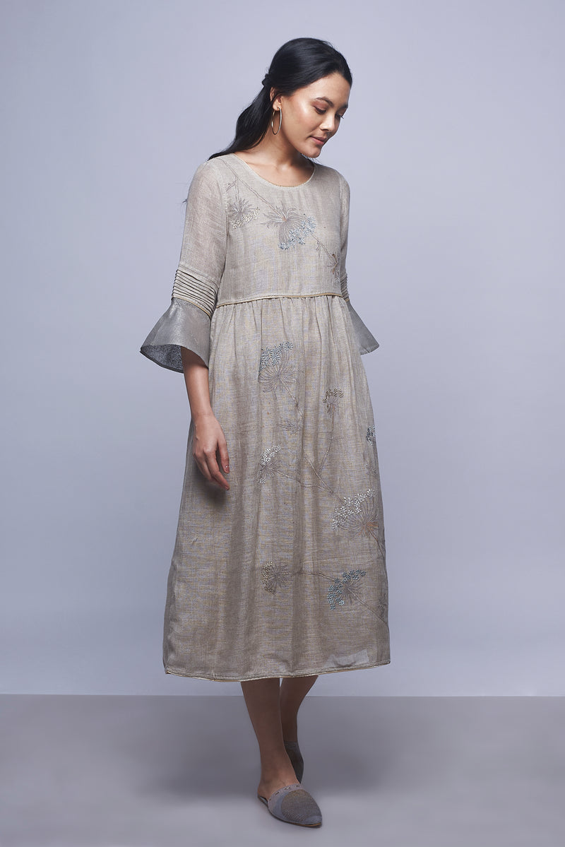Plant Panorama Amanda Dress Natural-Dresses-KAVERi