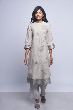 Plant Panorama Tunic Natural-Kurta Set-KAVERi