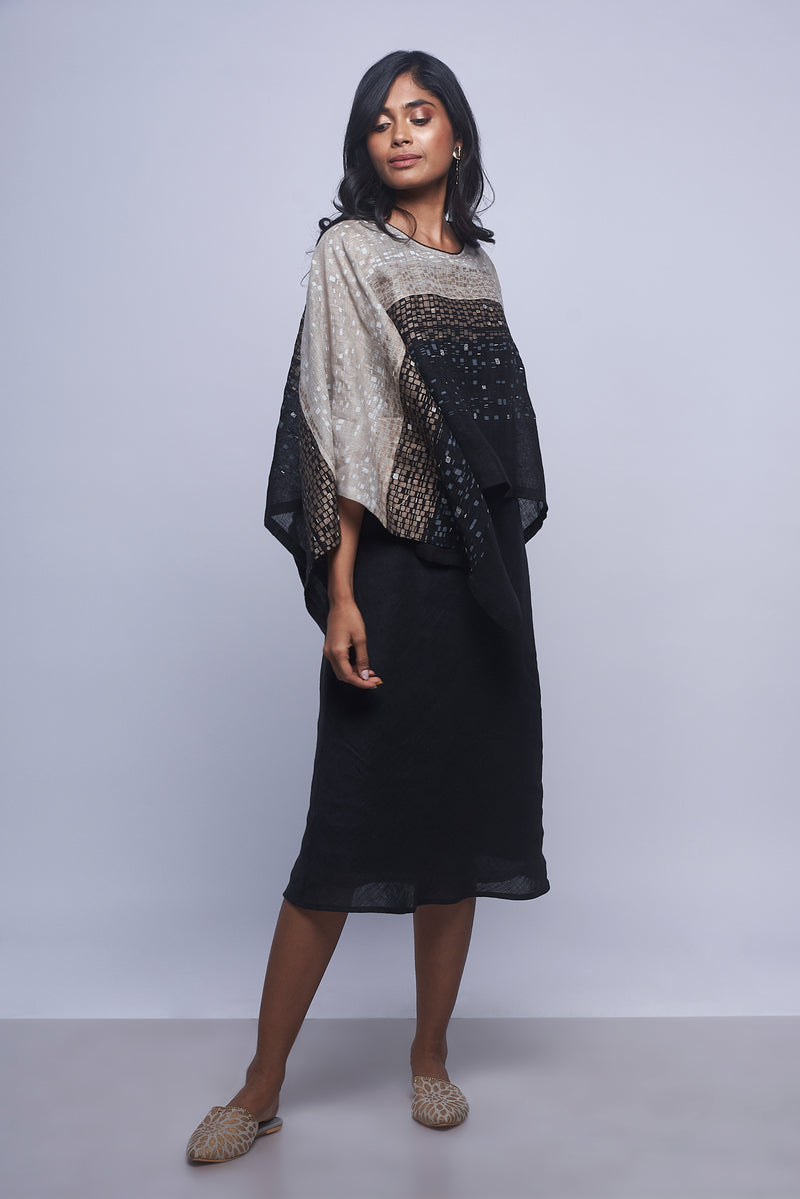Rubix Eiffel Dress Black + Natural-Dresses-Kaveri