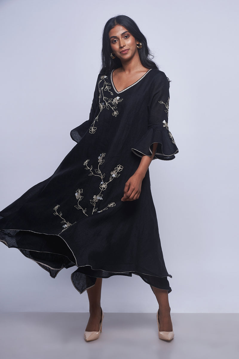World on a String Twirl Dress Black-Dresses-KAVERi
