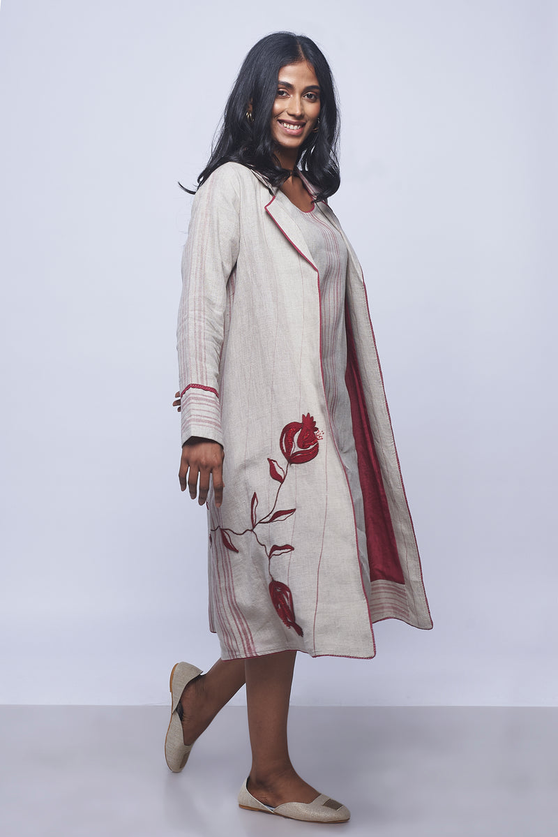 Pomegranate Play Pomo Jacket Natural & Cherry Stripes-Jackets-KAVERi