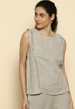 Pearls of Wisdom Frill Natural Top-Tops-KAVERi
