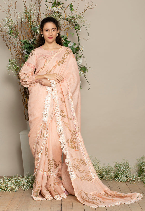 Saree & Tan Tan Dusty Rose Blouse-Sarees-KAVERi