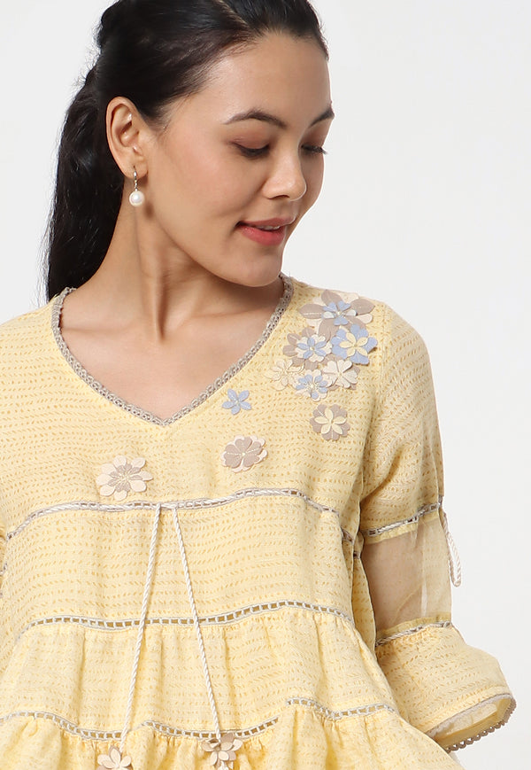 Flower Riot Basquine Top - Butter Cup-Top-KAVERi