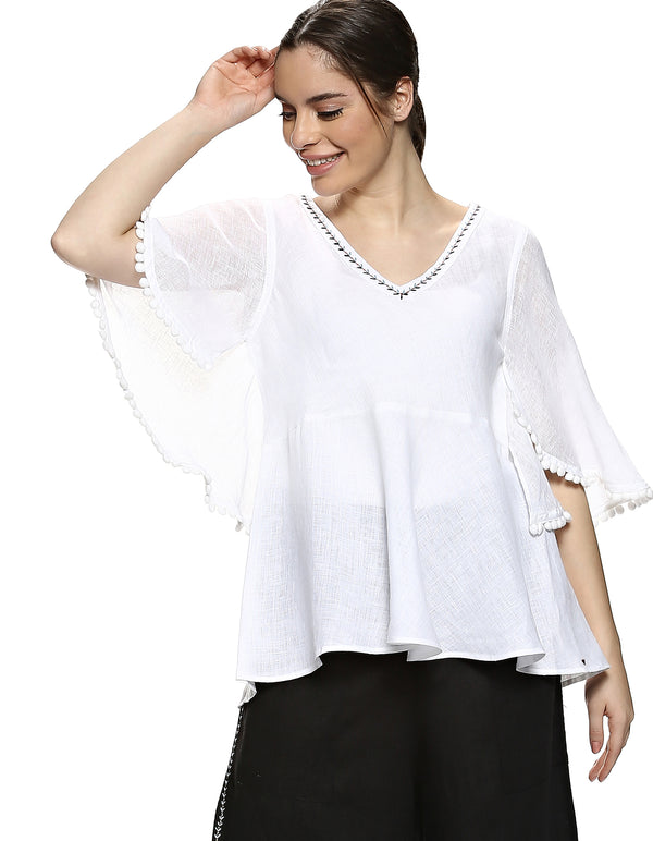 Pom Pom Butterfly Top White-Top-KAVERi