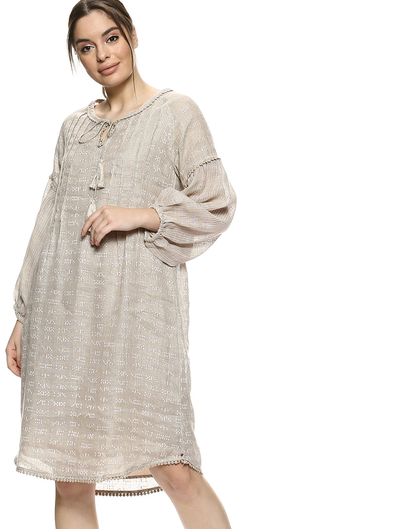 Dot Dash Dot Dot Hop Scotch Dress Natural-Dress-KAVERi