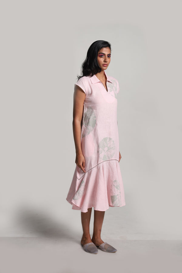 Lots of Leaves Natasha Dress Powder Pink-Dresses-KAVERi