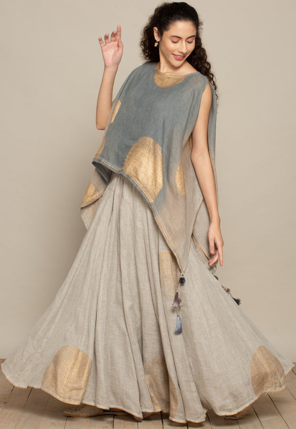 The Golden Dot Gleam Natural Cape & B Shell-Tops-KAVERi
