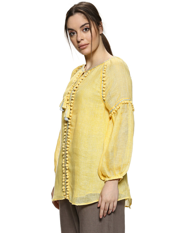 Pom Pom Peasant Top Yellow-Top-KAVERi