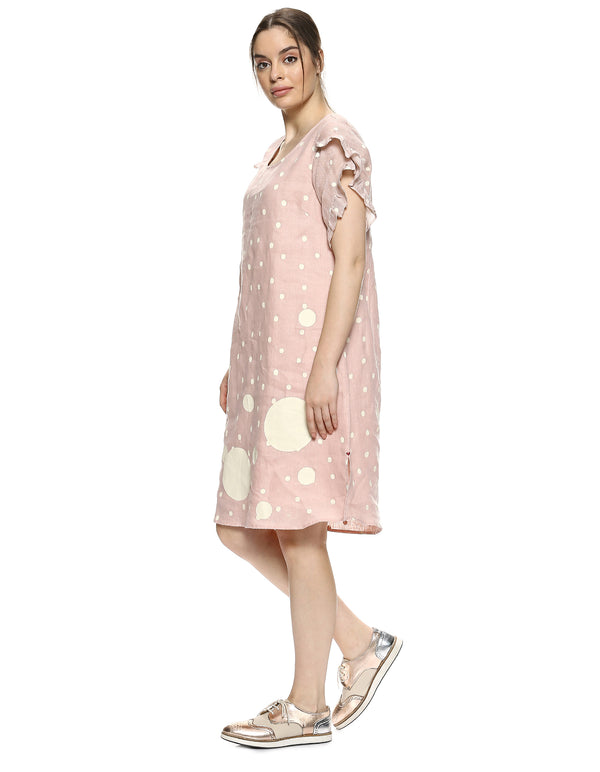 Do The Polka Pom Dress Dusty Rose-Dress-KAVERi