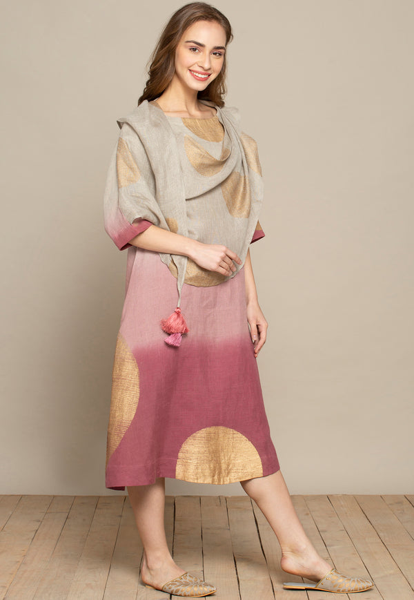 The Golden Dot Natural Cheateau Rose Burgundy Dress-Dresses-KAVERi