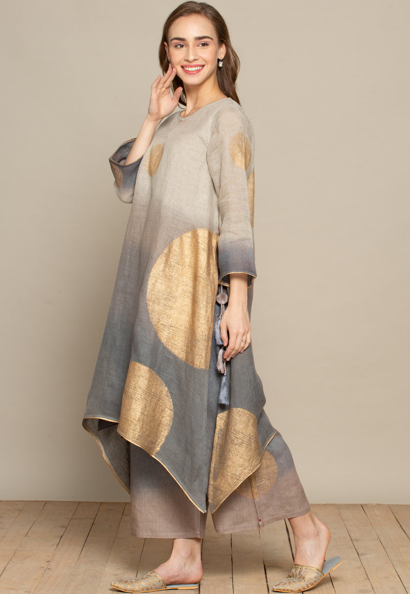 The Golden Dot Fly Free Grey Tunic Set-Kurta Set-KAVERi