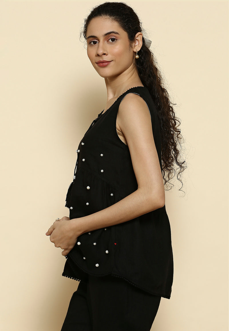 Pearls of Wisdom Mia Black Top-Tops-KAVERi